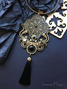 Soutache Pendant, Soutache Necklace, Tassel Earrings, Boho Jewelry, Handmade Jewelry, Jewellery, Shibori, Beaded Embroidery, Jewelry Collection