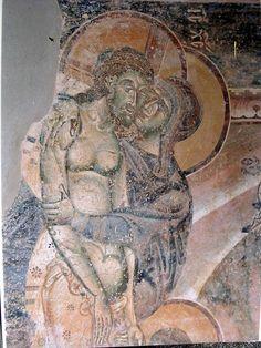 Frescos in St. Geoge Church in Kurbinovo, Prespa, Macedonia. Early Christian, Christian Art, Religious Icons, Religious Art, Greek Mythology Art, Roman Mythology, Archangel Raphael, Raphael Angel, Crucifixion Of Jesus