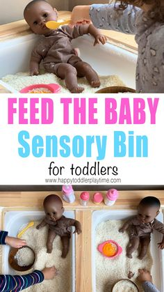 Feed the Baby Sensory Bin - HAPPY TODDLER PLAYTIME Here is an adorable and simple to set up Montessori sensory bin for toddlers and preschoolers. Feed the baby toddler sensory bin is such fun way to practice and teach self care to toddlers. Toddler Sensory Bins, Baby Sensory, Toddler Fun, Toddler Learning, Learning Toys, Sensory Activities, Infant Activities, Toddler Preschool, Activities For Kids