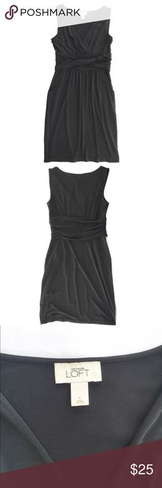 "Loft black knit dress Soft and stretchy v-neck knit black dress from Loft, size 6. Waist has a flattering attached sash and invisible side zipper and pockets. Excellent condition. Flat measurements are bust: 16.5"", waist: 14"", hips: 21"", length: 36"". LOFT Dresses"