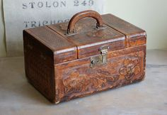 Old Tooled Leather Train Case