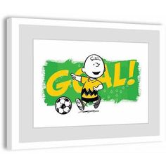 Peanuts Goal! Framed Art Print, Size: 18 inch x 12 inch, Multicolor