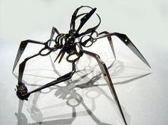 Ever wondered how what happens to the thousands of personal objects confiscated at airport terminals around the world? Sculptor Christopher Locke has embarked on a project to give some of these items a second life. Locke transforms small scissors banned from flights by the Transportation Security Administration (TSA) into these frightening spiders that look like they belong in an animated horror movie!