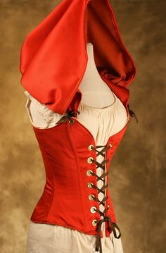 Little Red Riding Hood Corset CUSTOM FIT TO by damselinthisdress