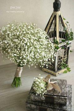 かすみ草のブーケ Baby's breath wedding bouquet