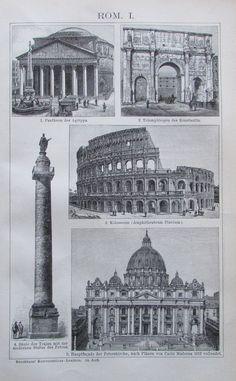 1895 ROM ROME ITALIEN Engelsburg Peterskirche Alter Druck Antique Print Litho   eBay