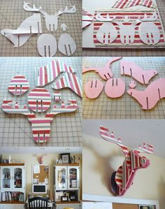I would love to do this but minus the ugly pink stripe fabric. I'd probably do stained wood or maybe deer hide.