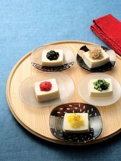 Chilled Tofu with Five Color Toppings   Japanese Dish for Summer