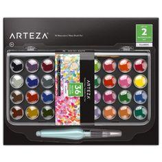 Arteza Ensemble Peinture Aquarelle, Set De 36 Godets Aux Couleurs Vives,  Inclut 1 Stylo ea5396a6459c