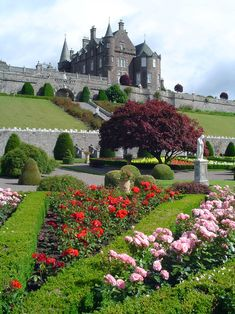 Drummond Castle and Gardens, Perthshire, Scotland, dates from the 15th century