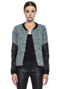 Thakoon Addition|Lambskin Sleeve Acrylic-Blend Jacket in Black Multi