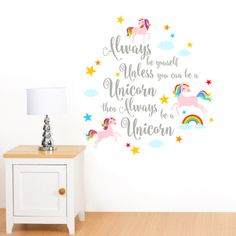 Always Be Yourself Rainbow Unicorn & Stars Girl's Quote