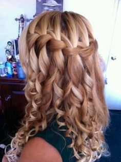 Beautiful waterfall braid with curls . Love it !