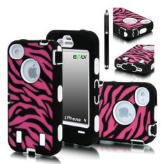 Many different colors!   Amazon.com: E-LV Deluxe Zebra Print Hard Soft High Impact Hybrid Armor Defender Case Combo for Apple iPhone 4 4S 4G 4th Generation with Free Front and Back Screen Protector, 1 Black Stylus and E-LV Microfiber Sticker Digital Cleaner (Retail Packaging) (iPhone 4, Black Hot-Pink with White): Cell Phones & Accessories