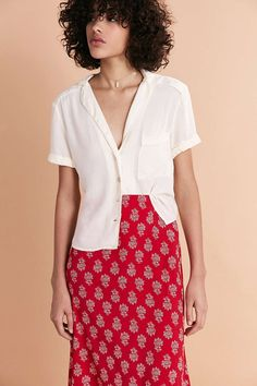 4eb1fad65ab Cooperative Florence Short-Sleeve Button-Down Blouse - Urban Outfitters  Fashion Wear