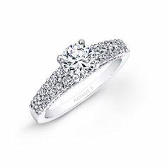 Natalie K Diamond 18k White Gold Prong Bezel Engagement Ring Setting
