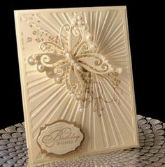 Craft Concepts Sun Rays Embossing Folder most similar to impression plate by Papertrey Ink;) Flutterby Birthday by - Cards and Paper Crafts at Splitcoaststampers Embossed Cards, Beautiful Handmade Cards, Embossing Folder, Greeting Cards Handmade, Butterfly Cards Handmade, Creative Cards, Anniversary Cards, Diy Cards, Craft Cards