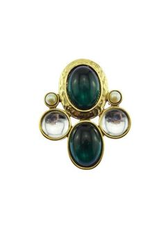 This striking large gold brooch features a large gold cross accented with dark green cabochons and large faux pearls. Maltese Cross, Gold Brooches, Gold Cross, Gemstone Rings, Pearls, Retro, Green, Vintage, Jewelry