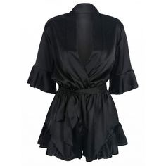 Choies Black Wrap V-neck Ruffle Sleeve Tie Waist Sateen Romper... ($19) ❤ liked on Polyvore featuring jumpsuits, rompers, romper, dresses, bodysuit, jumpsuit, black, wrap romper, jump suit and v neck jumpsuit