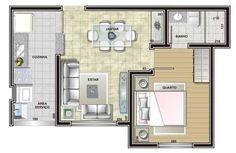 Planta de casa com um quarto