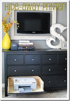 Home Office Organization: Turn a regular dresser drawer into a slide-out printer drawer. When not in use, hide the printer away by closing the drawer. Hideaway Printer Drawer Tutorial, also love the framed tv Printer Storage, Printer Shelf, Printer Stand, Framed Tv, Hemnes, Dresser Drawers, Ikea Dresser, Dressers, Dresser Storage