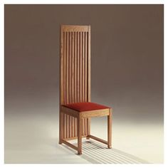 """Robie Dining Chair"" by Frank Lloyd Wright (1908). Wright often made his dining chair backs tall to create 'walls' around the dining table."