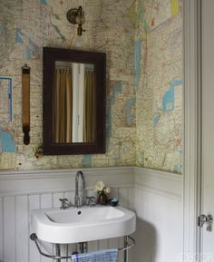 Maps in bathroom