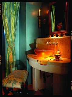 Gorgeous Turquoise Powder Room by Carson Poetzl, Inc.