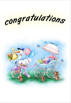 Free Printable New baby Congratulations Greeting Card