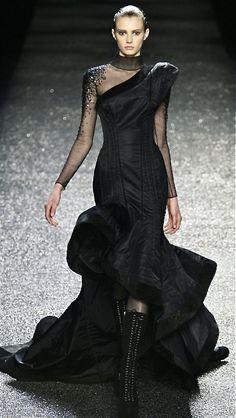 Nina Ricci. Black gothic ball gown dress
