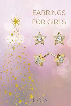 Star Bright diamonds & gold earrings for little girls & baby for Christmas ✫ ★ Baby Earrings, Kids Earrings, Gold Earrings, Thea Jewelry, Baby Jewelry, Little Girl Gifts, Baby Girl Gifts, Baby Ear Piercing, Toddler Gifts