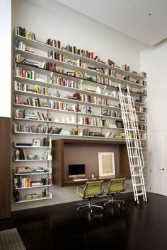bookshelves. ladder.