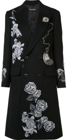 Dolce & Gabbana embroidered appliqué roses coat