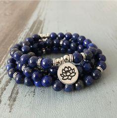 Blue Lapis Lazuli Beaded Bracelet Wrap, Mala Beads Lotus Necklace