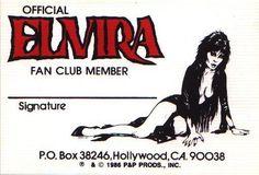 Elvira Fan Club member card