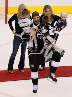 Dustin Brown with his family! Such a precious shot! Right after winning the cup!