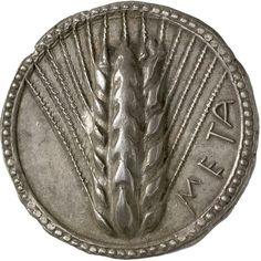 Esta moneda se uso en Metaponto, un municipio Italiano, fue creada entre el 520 - 510aC, y está compuesta de plata.