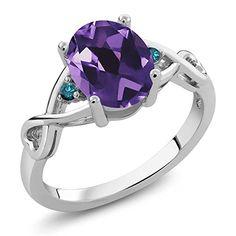 Gem Stone King 1.72 Ct Oval Purple Amethyst Blue Diamond 925 Sterling Silver Ring