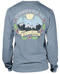Alpha Chi Omega Sisterhood Retreat Tshirts | MetroGreek | Sisterhood retreat | Alpha Chi O | Alpha Chi Omega | Retreat Shirts | Sorority Life | Greek Life | Comfort Colors | Sisterhood | Sorority | Sorority shirts | Mountains