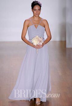 Brides.com: Alfred Angelo - 2014. Style 7272L, sleeveless chiffon and satin A-line bridesmaid dress with a v-neckline and halter straps, Alfred Angelo