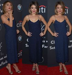 """Sarah Hyland Sizzles in Navy Blue Houghton Dress and Jimmy Choo """"Tamsyn"""" Sandals at The Grove Christmas Event"""