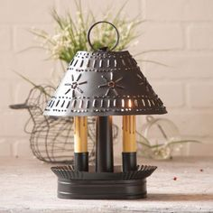 Punched Tin Candelabra Electric Lamp w/ Shade Smoke Black Primitive Farmhouse Home Decor Lights, Accent Lighting, Table Lamp Sets, Rustic Industrial, Contemporary Decor, Shabby Chic Furniture, Country Decor, Country Life, Night Light