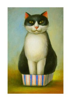 Just fit - Print of Original Oil Painting by #NatsuoIkegami THIS IS SO CAT:) #cats #CatArt