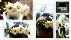 Opaska na głowę,ozdobiona żywymi kwiatami.Jako delikatna ozdoba komunijna.
