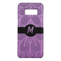 Monogram Purple Abstract Feather Floral Pattern Case-Mate Samsung Galaxy S8 Case - girly gift gifts ideas cyo diy special unique