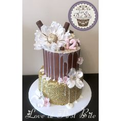 Gold, Brown, and Pink Drip Cake