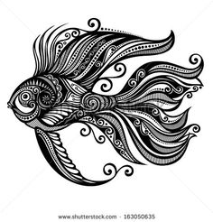 Abstract Sea Fish. Patterned design