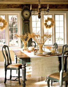 (Image of the Swedish Style from Country Living) Mmmmm-mmmmmm-MMMMM. That clock, that nubbly worn table covering. I know. Nubbly is not a word in most people's vocabulary.