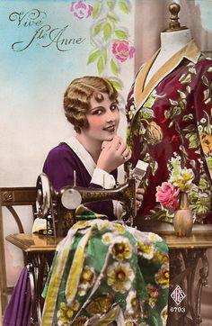 seamstress, vintage postcard