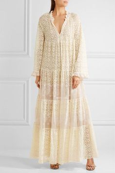 Cream and white cotton-blend lace Slips on  Fabric1: 79% cotton, 21% polyester; fabric2: 100% cotton; lining: 100% silk Dry clean  Designer color: Natural Imported